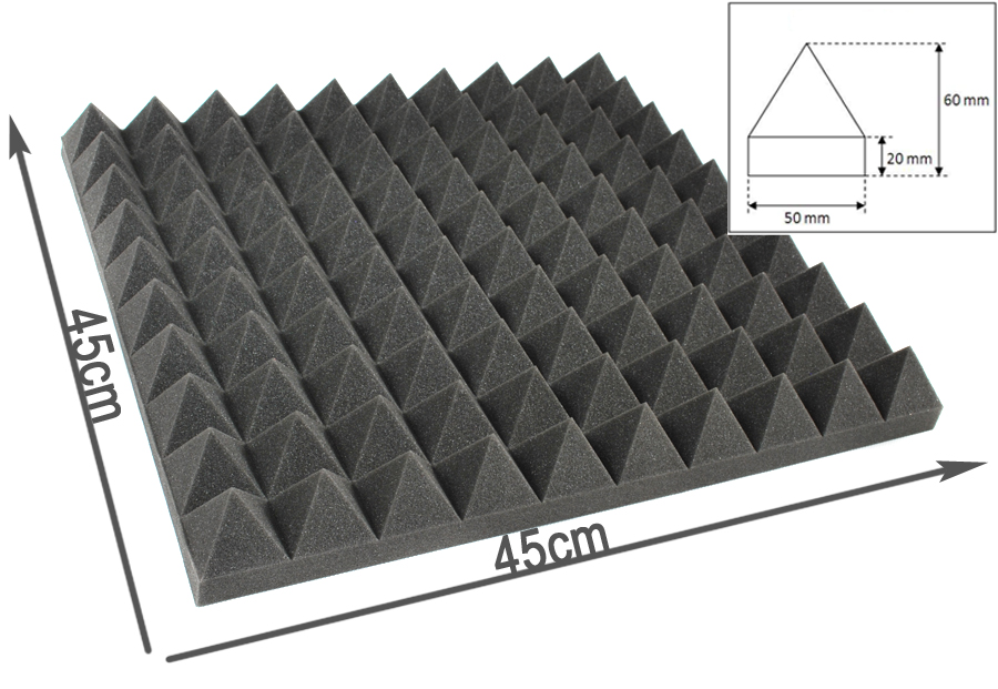 Mousse acoustique pyramidale pro 45cm 45cm 6cm - Mousse acoustique studio ...